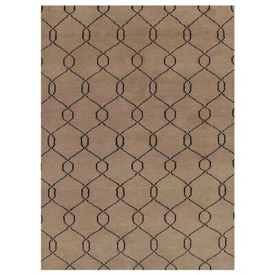 Mangold Geometric Hand-Knotted Wool Beige/Black Area Rug Rug Size: Rectangle 5 x 8