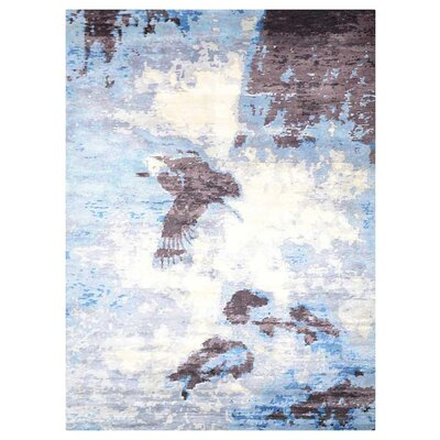 Johns Contemporary Hand-Knotted Wool Light Brown/Blue Area rug Rug Size: Rectangle 9 x 12