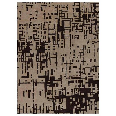 Cripe Contemporary Hand-Knotted Wool Beige/Brown Area Rug Rug Size: Rectangle 9 x 12