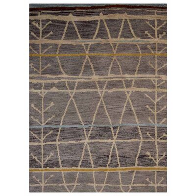 Cheyney Contemporary Hand-Knotted Wool Brown Area Rug Rug Size: Rectangle 6 x 9