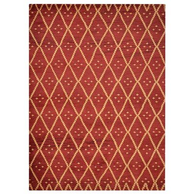 Hetzel Geometric Hand-Knotted Wool Red/Gold Area Rug Rug Size: Rectangle 9 x 12