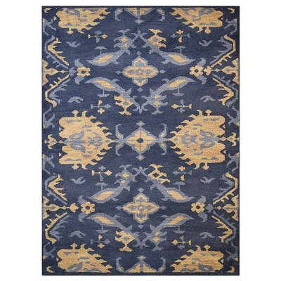 Creager Floral Hand-Knotted Wool Blue/Beige Area Rug