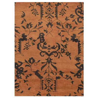 Heuer Floral Hand-Knotted Wool Brown/Black Area Rug Rug Size: Rectangle 5 x 8
