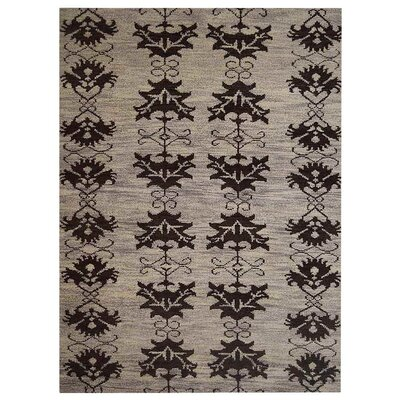 Heuer Floral Hand-Knotted Wool Beige/Brown Area Rug Rug Size: Rectangle 5 x 8
