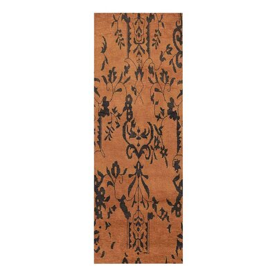 Heuer Floral Hand-Knotted Wool Brown/Black Area Rug Rug Size: Runner 26 x 10