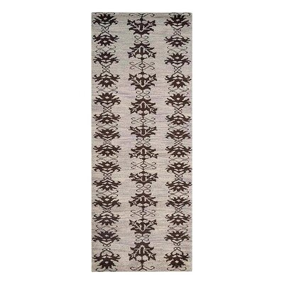 Heuer Floral Hand-Knotted Wool Beige/Brown Area Rug Rug Size: Runner 26 x 10
