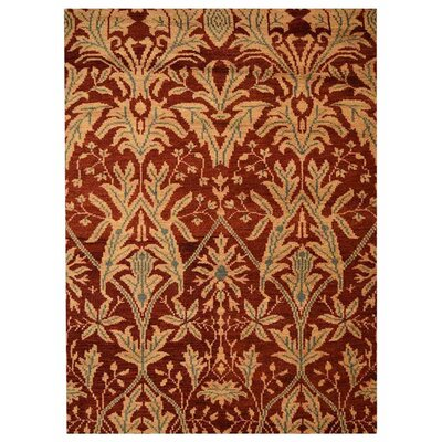 Creasman Floral Hand-Knotted Wool Red/Gold Area Rug Rug Size: Rectangle 9 x 12