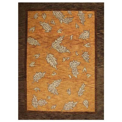 Campuzano Floral Hand-Knotted Wool Orange/Brown Area Rug Rug Size: Rectangle 6 x 9
