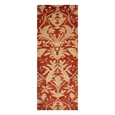 Creasman Floral Hand-Knotted Wool Red/Light Gold Area Rug