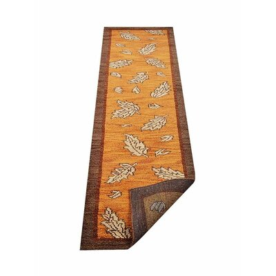 Campuzano Floral Hand-Knotted Wool Orange/Brown Area Rug Rug Size: Runner 26 x 10