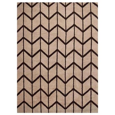 Johns Hand-Knotted Wool Beige/Brown Area Rug Rug Size: Rectangle 10 x 14