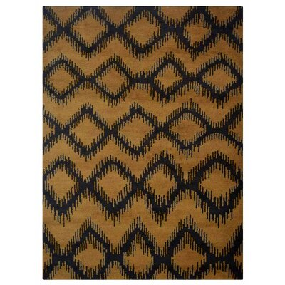 Heuer Geometric Hand-Knotted Wool Gold/Charcoal Area Rug Rug Size: Rectangle 5 x 8