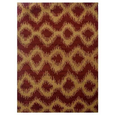 Heuer Geometric Hand-Knotted Wool Red/Gold Area Rug Rug Size: Rectangle 9 x 12