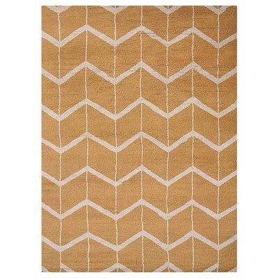 Johns Hand-Knotted Wool Gold/Beige Area Rug Rug Size: Rectangle 5 x 8