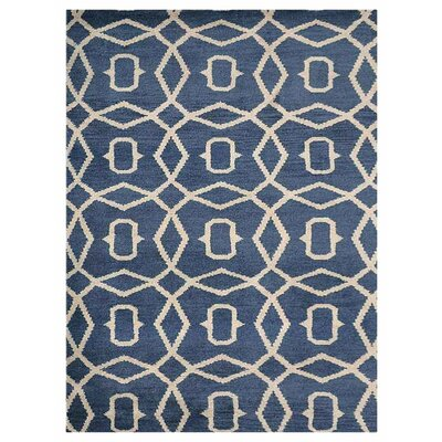 Frisange Geometric Hand-Knotted Wool Blue/Beige Area Rug