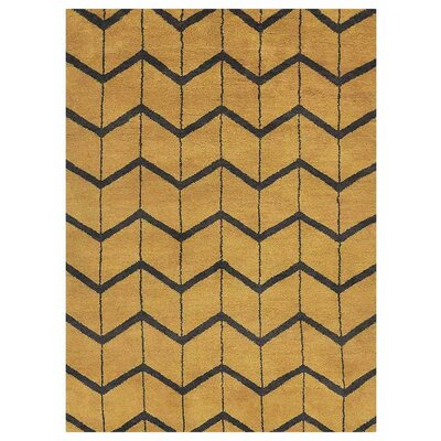 Johns Hand-Knotted Wool Gold/Charcoal Area Rug Rug Size: Rectangle 9 x 12