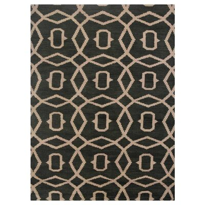 Frisange Geometric Hand-Knotted Wool Green/Beige Area Rug Rug Size: Rectangle 5 x 8