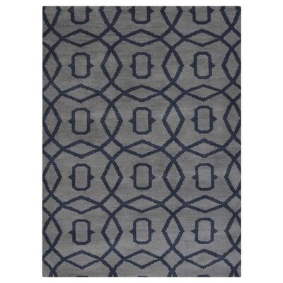 Frisange Geometric Hand-Knotted Wool Light Blue/Gray Area Rug Rug Size: Rectangle 8 x 10