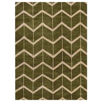 Freida Hand-Knotted Wool Green/Beige Area Rug Rug Size: Rectangle 9 x 12