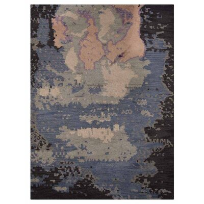 Johns Contemporary Hand-Knotted Wool Blue/Black Area Rug Rug Size: Rectangle 10 x 14