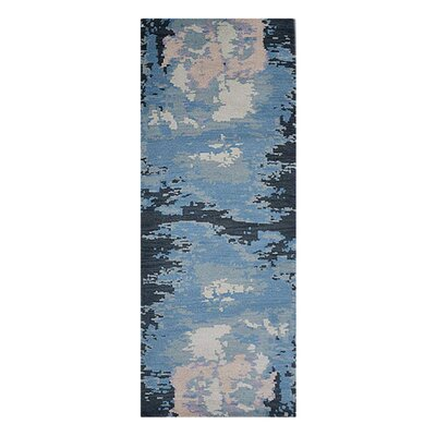 Johns Contemporary Hand-Knotted Wool Light Blue/Black Area Rug