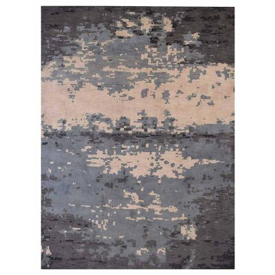 Johns Contemporary Hand-Knotted Wool Blue/Gray Area Rug Rug Size: Rectangle 6 x 9