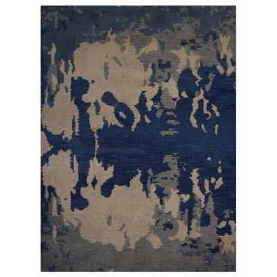 Johns Contemporary Hand-Knotted Wool Blue/Beige Area Rug Rug Size: Rectangle 10 x 14