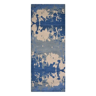 Johns Contemporary Hand-Knotted Wool Blue/Gray Area Rug