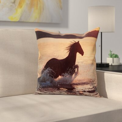 Equestrian Horse Sea at Sunset Cushion Pillow Cover Size: 16 x 16