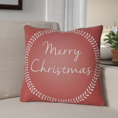 Merry Christmas Outdoor Throw Pillow Size: 18 H x 18 W x 4 D, Color: Red