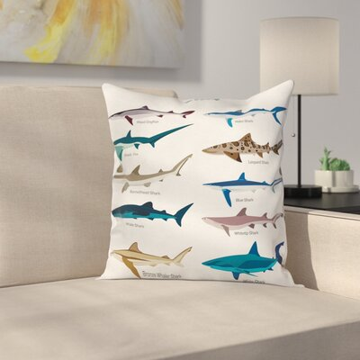 "Fish Cartoon Shark Types Wild Square Pillow Cover Size: 16"" x 16"" ETHE2177 44281728"