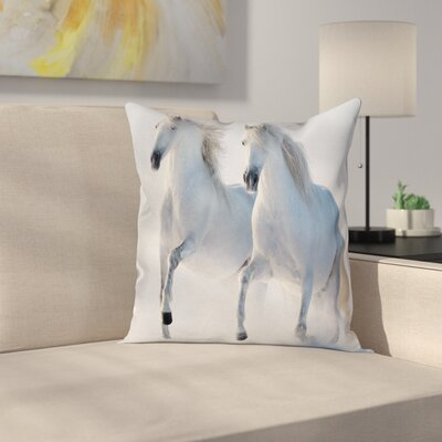 Wintertime Horse Animal Square Pillow Cover Size: 16 x 16