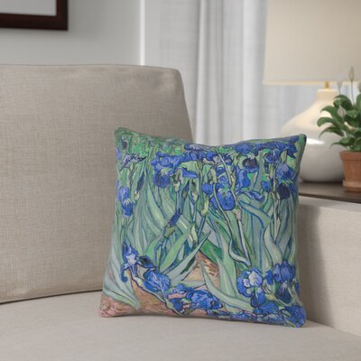Morley Irises Square 100% Cotton Pillow Cover Color: Green/Blue/Brown, Size: 18 x 18
