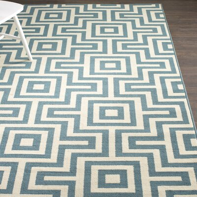 Rahul Hand-Woven Blue Indoor/Outdoor Area Rug V Rug Size: 67 x 96