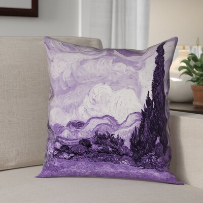Belle Meade Wheatfield with Cypresses Square Pillow Cover Color: Purple, Size: 14 x 14