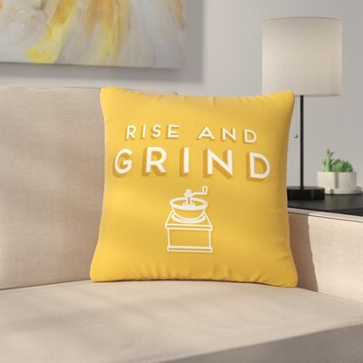 Busy Bree Rise and Grind Gold Illustration Outdoor Throw Pillow Size: 18 H x 18 W x 5 D