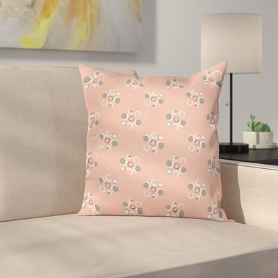 Grunge Circle Flower Art Square Pillow Cover Size: 24 x 24