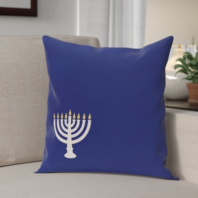 Holiday Geometric Print Eight Days of Light Throw Pillow Size: 16'' H x 16'' W, Color: Blue