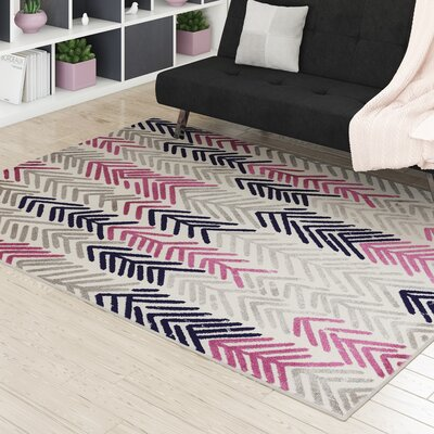 Ardelle Floral Ivory/Purple Area Rug Rug Size: 53 x 73