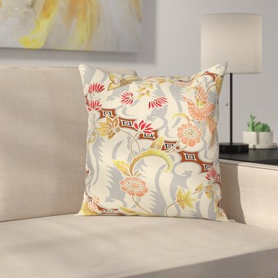 Flower Butterfly Spring Square Pillow Cover Size: 16 x 16