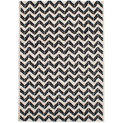 Freemont Soho Shag Black/Cream Area Rug Rug Size: Rectangle 67 x 96
