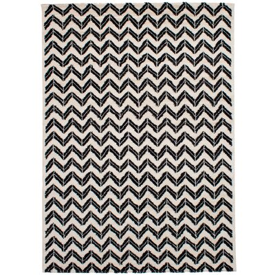 Freemont Soho Shag Black/Cream Area Rug Rug Size: Rectangle 79 x 1011