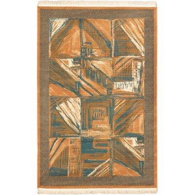 Hetrick Wool Ivory/Turquoise Area Rug