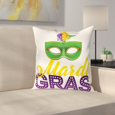 Mardi Gras Festive Calligraphy Square Cushion Pillow Cover Size: 16 x 16