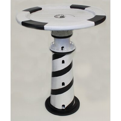 Budd Wooden Lighthouse Table Stripe End Table Color: Black
