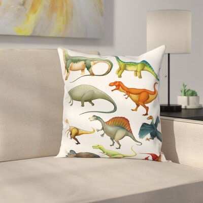 Dinosaur Jurassic Collection Square Cushion Pillow Cover Size: 18 x 18