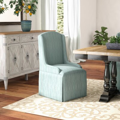 Doric Petite Wing Back Skirted Arm Chair Upholstery: Bahama