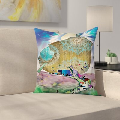 Noahs Ark Decor Bible Mandala Square Pillow Cover Size: 16 x 16