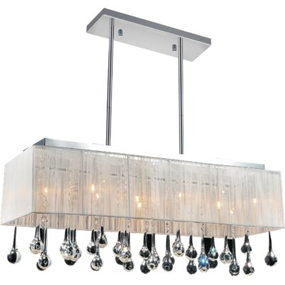 Water Drop 10-Light Crystal Chandelier Shade Color: White