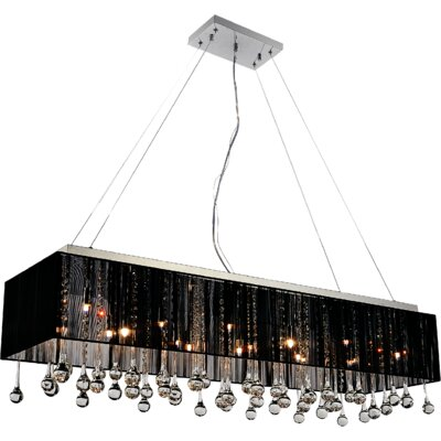 Water Drop 14-Light Crystal Chandelier Shade Color: Black